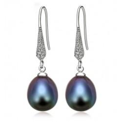 Pendientes de plata 925 con perla natural negra o blanca