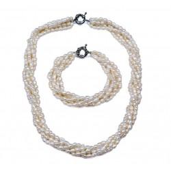 Conjunto de collar y pulsera multicapas elaborados con perlas auténticas en color crudo