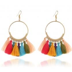 Pendientes aros con flecos multicolores Chira