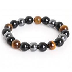 Tiger Eye & Hematite & Black Obsidian Stone Bead Unisex Bracelet