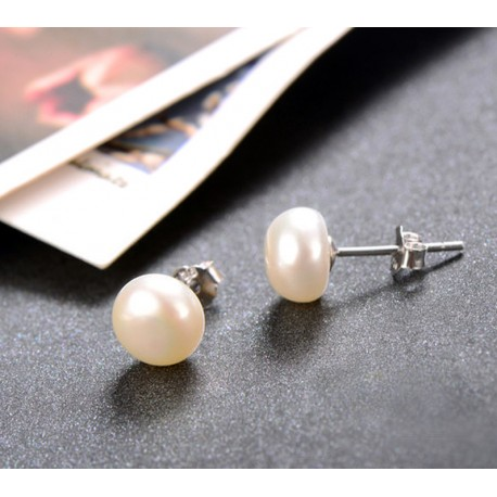Freshwater Pearl Silver 925 Stud Earrings