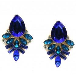Pendientes con cristales azules o negros inspirados en la botánica