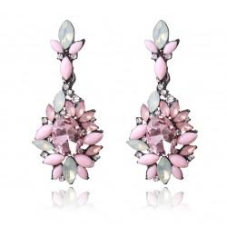 Pendientes largos colgantes con cristales rosas