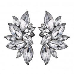Elegant Geometric Flowers Crystal Stud Earrings