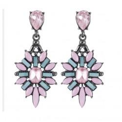 Pendientes largos en forma de flor con cristales rosas y azules