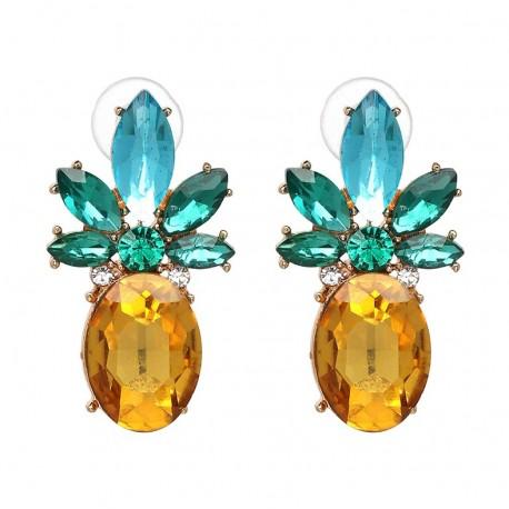 Pendientes Piña con cristales amarillos y verdes