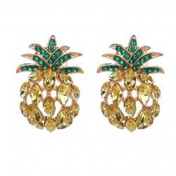 Pendientes serie Tropical con piña con cristales amarillos