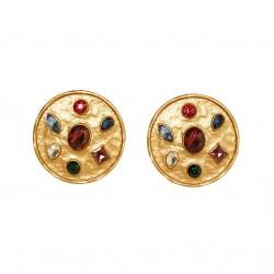 Pendientes geométricos Vintage en color oro antiguo con cristales
