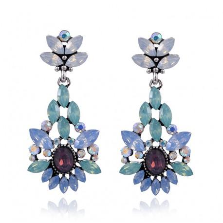 Pendientes elegantes con cristales violetas y azules varios tonos