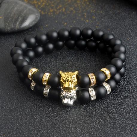 Pulsera de cuentas unisex de piedras naturales con detalle de cabeza de leopardo