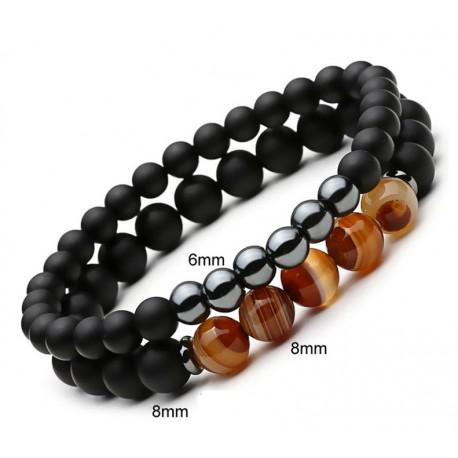 Set de pulseras unisex con obsidiana, ágata y hematita