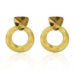 Irregular Geometric Circles Vintage Gold Color Earrings