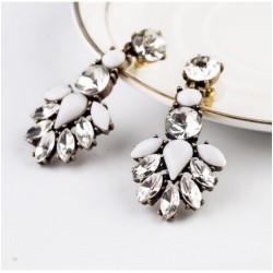 Trendy White Crystal Earrings