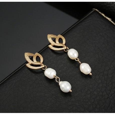 Vintage Irregular Freshwater Pearl Dangle Earrings with Golden Leaves