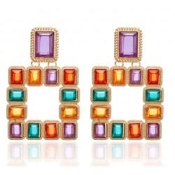 Pendientes geométricos maxi, estilo Art Decó, con cristales de varios colores