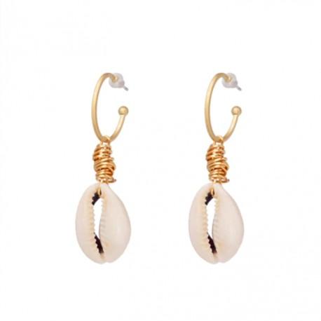 Sea Shell Pendant Gold Color Earrings
