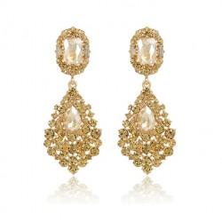 Pendientes elegantes con cristales color champagne