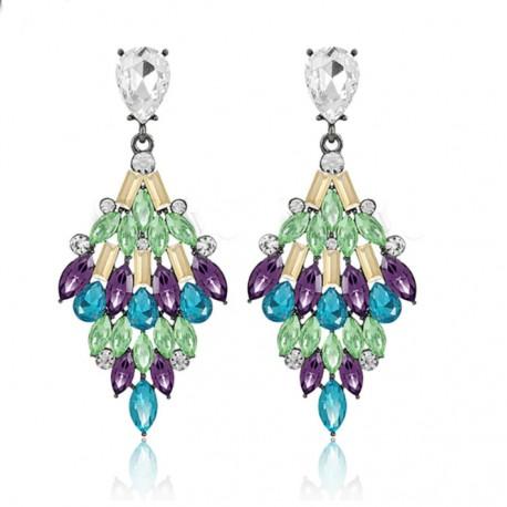 Women Drop Geometric Earrings with Crystals