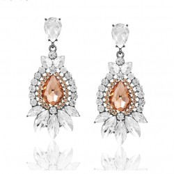 Pendientes en forma de flor con cristales
