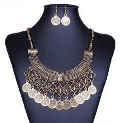 Vintage Coins Necklace Earrings Arabic Style Set Nefertari
