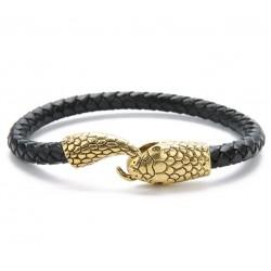 Pulsera de cuero trenzado con cierre de metal envejecido con forma de serpiente