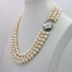 Collar multicapas de 3 vueltas, de perla auténtica