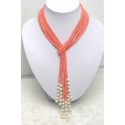 Collar largo con bolas de coral rosa pulido natural y perlas acrílicas