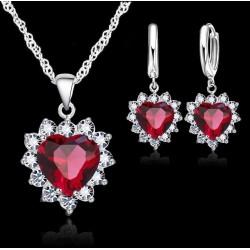 Conjunto collar y pendientes en plata 925 y colgante de zirconita azul o rojo