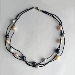 Collar multicapas de 3 capas de piel con perlas naturales