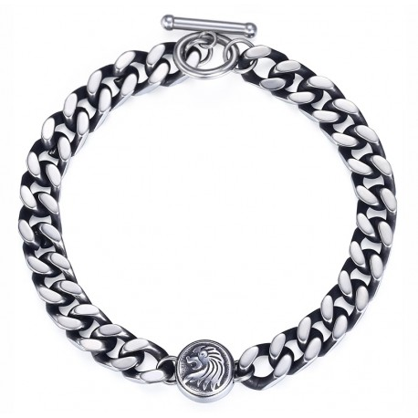 Lion Charm Bracelet For Men Stainless Steel Silver Tone