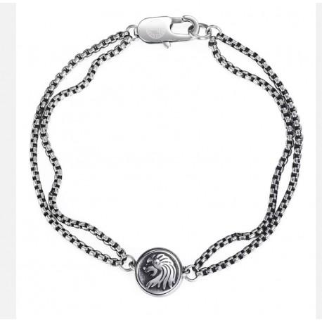 Lion Charm Bracelet For Men Double Chain Stainless Steel