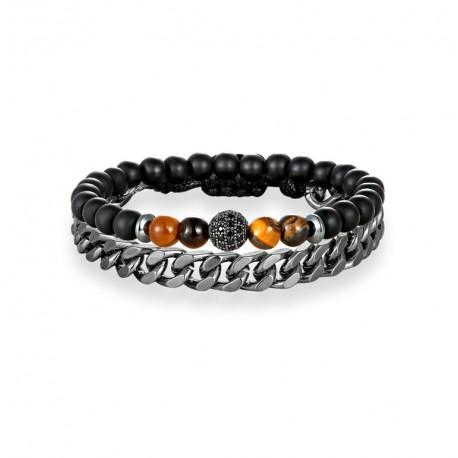 Men's  Set 2PCS Natural Stone Beaded Charm Bracelet and Stainless Steel