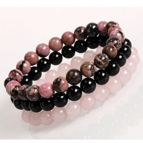 Set of Natural Stone Bracelets 8mm with Black Onyx, Rhodonite, Rose Quartz