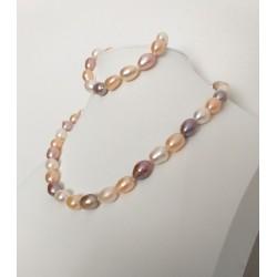 Conjunto collar y pulsera de perlas colores suaves