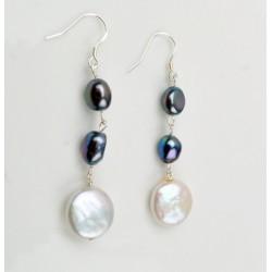 Pendientes en plata 925 de tipo cascada con perlas de agua dulce
