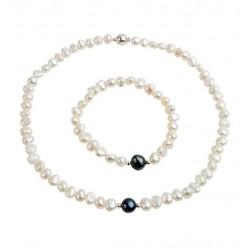 Conjunto collar y pulsera con perlas blancas y una negra