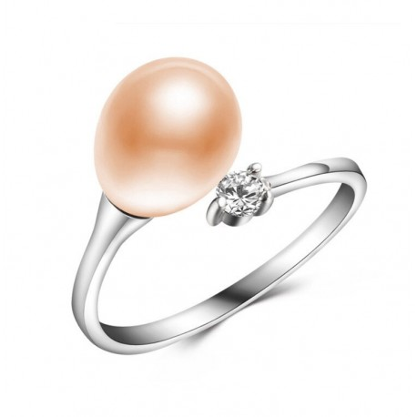 Silver Ring With Pink Fresh Water Pearl and Crystal