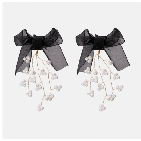 Original Handmade Big Earrings with Elegant Silk Bow and Little Pearls