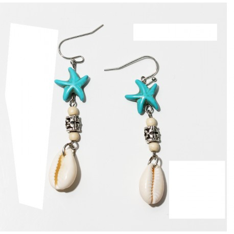 Bohemian Style Earrings with Natural Shell and Blue Stone Star