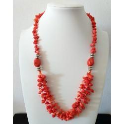 Collar artesanal de Coral Naranja natural