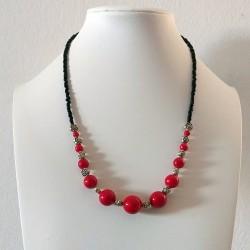 Collar de bolas rojas y rosas de Plata Tibetana