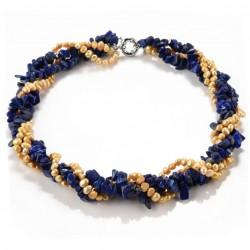 Collar trenzado con piedras sodalita y perlas de agua dulce