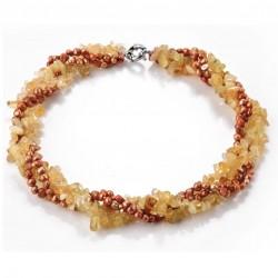 Collar trenzado con cuarzo Citrina y perlas de agua dulce