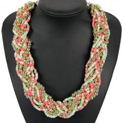 Collar trenzado de moda con piedras y cristales