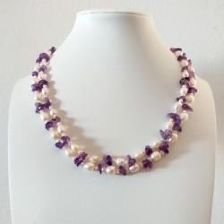 Collar artesanal doble con Perlas blancas y piedras Amatista