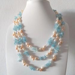 Collar largo de piedras Aguamarina y perlas naturales