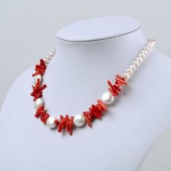 Collar artesanal con Perlas Barroca de tipo botón y Coral