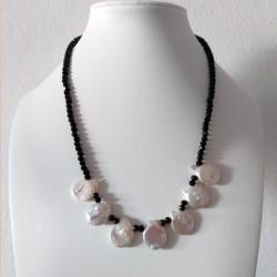 Collar de Onix facetado con perlas tipo Moneda