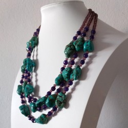 Original Rough Turquoise and Faceted Amethyst Beads Necklace