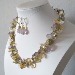 Lavender Amethyst, Citrine, Peridot, Toggle Clasp 2 Rows Necklace and Earrings Set